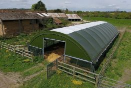 High welfare calf housing - livestock pop-up building by McGregor Polytunnels in Hampshire, UK
