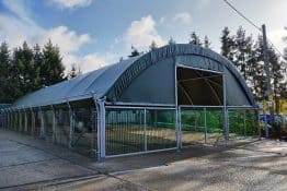 Showcase Livestock Pop-Up Building at Laceys Farm in Hampshire, UK - McGregor Polytunnels